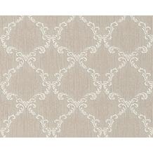 Architects Paper Mustertapete Tessuto, Textiltapete, graubeige, signalweiß 956291 10,05 m x 0,53 m