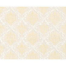 Architects Paper Mustertapete Tessuto, Textiltapete, sandgelb, perlweiß, signalweiß 956297 10,05 m x 0,53 m