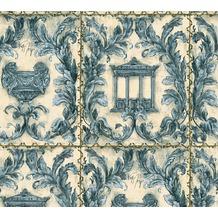 Architects Paper neobarocke Mustertapete Kind of White by Wolfgang Joop beige blau metallic 340863 10,05 m x 0,53 m