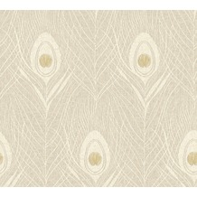 Architects Paper Vliestapete Absolutely Chic Tapete mit Pfauen Feder beige grau metallic 369717 10,05 m x 0,53 m