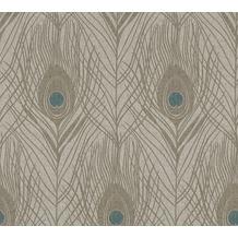 Architects Paper Vliestapete Absolutely Chic Tapete mit Pfauen Feder blau braun grau 369716 10,05 m x 0,53 m