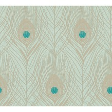 Architects Paper Vliestapete Absolutely Chic Tapete mit Pfauen Feder metallic blau grün 369713 10,05 m x 0,53 m