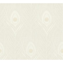 Architects Paper Vliestapete Absolutely Chic Tapete mit Pfauen Feder metallic grau beige 369711 10,05 m x 0,53 m
