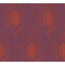 Architects Paper Vliestapete Absolutely Chic Tapete mit Pfauen Feder metallic rot lila 369715 10,05 m x 0,53 m