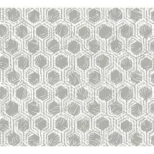 Architects Paper Vliestapete Alpha Tapete grafisch metallic weiß 333271 10,05 m x 0,53 m