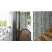 AS Création Mustertapete, Vintage-Holzoptik Decoworld,  pastelltürkis, beige, verkehrsgrau 10,05 m x 0,53 m