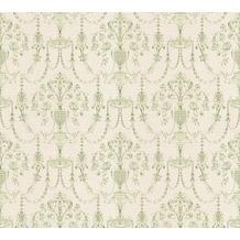 AS Création barocke Mustertapete April Vliestapete creme grün metallic 10,05 m x 1,06 m