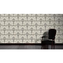 AS Création barocke Mustertapete April Vliestapete creme metallic schwarz 10,05 m x 1,06 m