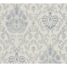 AS Création barocke Mustertapete Belle Epoque Strukturprofiltapete blau metallic weiß 10,05 m x 0,53 m