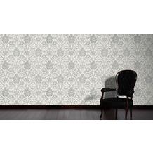 AS Création barocke Mustertapete Belle Epoque Strukturprofiltapete grau metallic weiß 10,05 m x 0,53 m