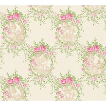 AS Création barocke Mustertapete Château 5 Vliestapete creme grün rosa 344992 10,05 m x 0,53 m