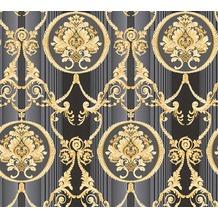 AS Création barocke Mustertapete Hermitage 10 grau metallic schwarz 330836 10,05 m x 0,53 m
