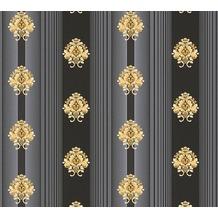 AS Création barocke Mustertapete Hermitage 10 grau metallic schwarz 330846 10,05 m x 0,53 m