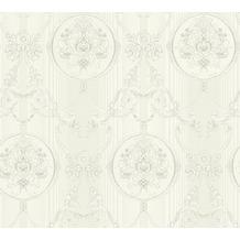 AS Création barocke Mustertapete Hermitage 10 grau metallic weiß 330833 10,05 m x 0,53 m