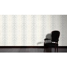 AS Création barocke Mustertapete Reflection Vliestapete Tapete grau metallic weiß 10,05 m x 0,53 m
