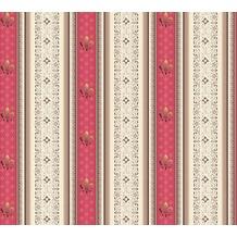 AS Création barocke Mustertapete Streifentapete Hermitage 10 braun creme rot 335423 10,05 m x 0,53 m