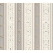 AS Création barocke Mustertapete Streifentapete Hermitage 10 creme grau 335425 10,05 m x 0,53 m