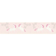 AS Création Bordüre Boys & Girls 6 Borte mit Einhörnern Unicorn metallic rosa weiß 369903 5,00 m x 0,13 m