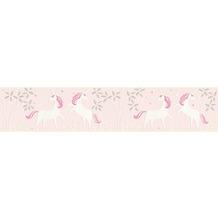AS Création Bordüre Boys & Girls 6 Borte mit Einhörnern Unicorn metallic rosa weiß 369903