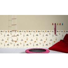 AS Création Bordüre Little Stars Borte PVC-frei braun orange 5,00 m x 0,13 m