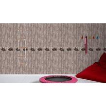 AS Création Bordüre Little Stars Borte PVC-frei braun rot 5,00 m x 0,13 m