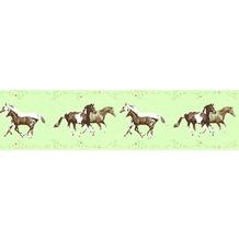 AS Création Bordüre Little Stars Borte PVC-frei bunt grün 358381 5,00 m x 0,13 m