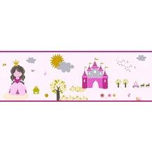AS Création Bordüre Little Stars Borte PVC-frei bunt rosa 358531 5,00 m x 0,17 m
