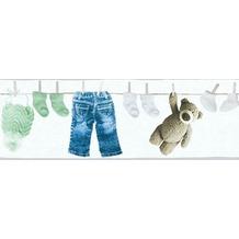 AS Création Bordüre Little Stars Borte PVC-frei creme grün weiß 358462 5,00 m x 0,17 m