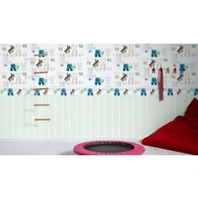 AS Création Bordüre Little Stars Borte PVC-frei creme grün weiß 5,00 m x 0,17 m