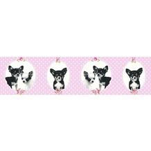 AS Création Bordüre Little Stars Borte PVC-frei rosa schwarz 358502 5,00 m x 0,13 m