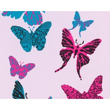 "AS Création Boys & Girls 4 Mustertapete ""Butterflies"", blau, schwarz, violett 936342 10,05 m x 0,53 m"