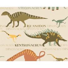 "AS Création Boys & Girls 4 Mustertapete ""Dinosaurier"", Papiertapete, beige, bunt 936331 10,05 m x 0,53 m"