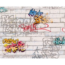 "AS Création Boys & Girls 4 Mustertapete ""Graffities"", Papiertapete, bunt, weiss 935611 10,05 m x 0,53 m"