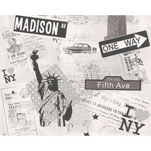 "AS Création Boys & Girls 4 Mustertapete ""I Love NY"", Papiertapete, grau, metallic 936251"