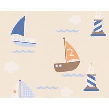 "AS Création Boys & Girls 4 Mustertapete ""Meer"", Papiertapete, beige, blau, braun 935548 10,05 m x 0,53 m"