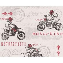 "AS Création Boys & Girls 4 Mustertapete ""Motorbike"", Papiertapete, grau, rot, weiss 10,05 m x 0,53 m"