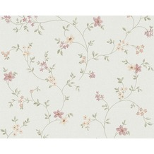 "AS Création Fleuri Pastel Mustertapete ""Field Flowers"", Tapete, bunt, grün, weiss 937701 10,05 m x 0,53 m"