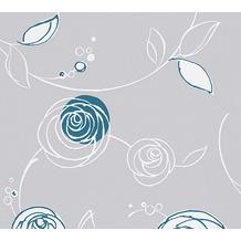 AS Création florale Mustertapete Essentials Vliestapete Tapete blau grau weiß 10,05 m x 0,53 m