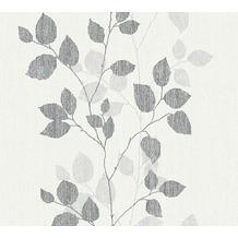 AS Création florale Mustertapete Happy Spring Vliestapete grau schwarz weiß 347614 10,05 m x 0,53 m