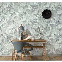 AS Création florale Mustertapete im Palmenprint Soraya Tapete blau grau 10,05 m x 0,53 m