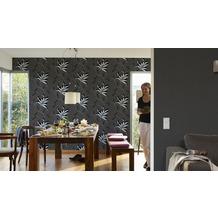 AS Création florale Mustertapete Kingston Strukturprofiltapete grau metallic schwarz 10,05 m x 0,53 m