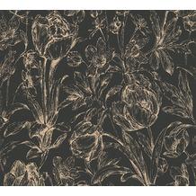 AS Création florale Mustertapete Memory 3 Vliestapete metallic schwarz 329852 10,05 m x 0,53 m