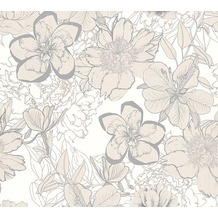 AS Création florale Mustertapete Urban Flowers Papiertapete creme metallic weiß 327981 10,05 m x 0,53 m