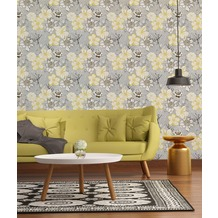 AS Création florale Mustertapete Urban Flowers Papiertapete gelb grau weiß 10,05 m x 0,53 m