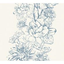AS Création florale Mustertapete Vision Vliestapete blau metallic weiß 307062 10,05 m x 0,53 m
