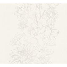 AS Création florale Mustertapete Vision Vliestapete grau weiß 307064 10,05 m x 0,53 m