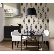 AS Création grafische Mustertapete New Orleans Strukturprofiltapete creme metallic schwarz 10,05 m x 0,53 m
