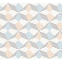 AS Création Grafische Mustertapete Ökotapete Scandinavian Style Beige Blau  Metallic 10,05 ...