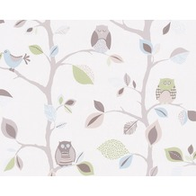 "AS Création Kids Party Mustertapete ""Sweet little Owl`s"", blau, bunt, grün 856333 10,05 m x 0,53 m"