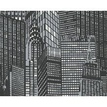 AS Création Leuchttapete Day & Night glow in the dark Vliestapete grau schwarz 252845 10,05 m x 0,53 m